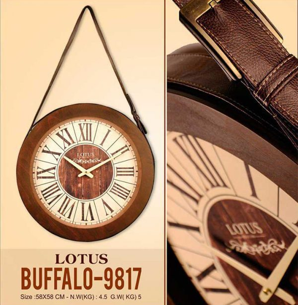 ساعت دیواری چوبی لوتوس مدل Buffalo-9817